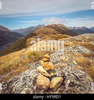 Vue paysage de petits rochers pyramide et de montagnes, Routeburn track, Fjordland, Nouvelle-Zélande Banque D'Images