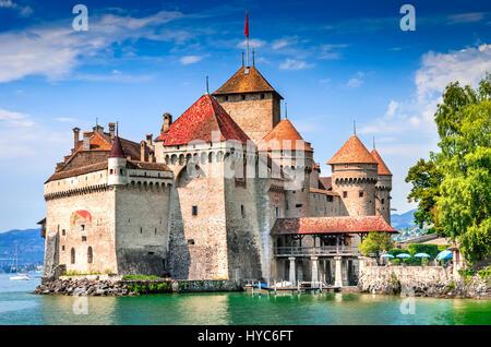 Château de Chillon, Suisse. Montreaux, lac Geneve, l'un des plus visités en château, attire plus de 300 000 visiteurs Banque D'Images
