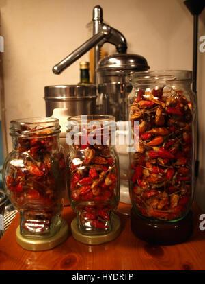 Bird's Eye rouge séchage des piments en pots dans la cuisine grecque traditionnelle Banque D'Images