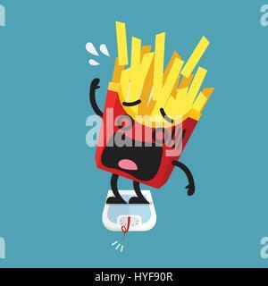 L'excès de frites caractère sur une balance. Concept sain Banque D'Images