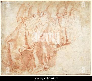 En réalité, Raphaël Santi Raffaello huit évêques assis Google Art Project Banque D'Images