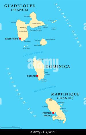 La Guadeloupe, la Dominique et la Martinique carte politique avec les capitales Basse-Terre, Roseau et Fort-de-France. Îles de la mer des Caraïbes.