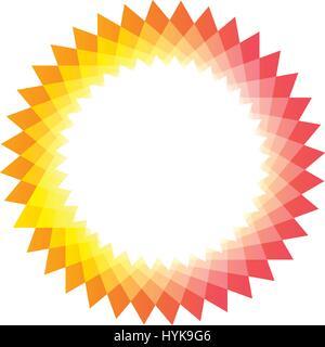 Couleur jaune et rose isolés logo Sun, résumé, forme ronde logo sur fond blanc vector illustration Banque D'Images
