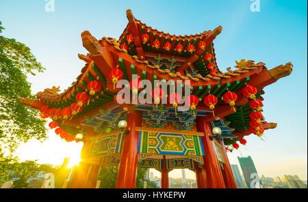 Lanternes rouges décoration lors d'Thean Hou Temple à Kuala Lumpur, c'est en préparation pour la venue du Nouvel Banque D'Images