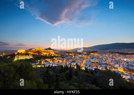 Dans l'acropole de la ville d'Athènes, Grèce. Banque D'Images