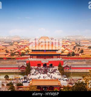 Vue aérienne de la Cité Interdite, Beijing, Chine, format carré.