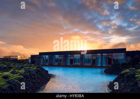 L'hôtel de silice en Islande est à 10 minutes à pied de la spa géothermal Blue Lagoon en Grindavik sur la péninsule Banque D'Images