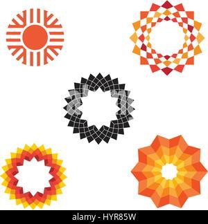 Résumé vecteur géométrique moderne divers icônes sun Banque D'Images