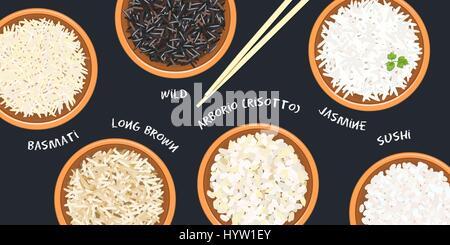 Différents types de riz dans des pots. Sauvages, Basmati, jasmin, long, brun, arborio. sushi baguettes. Cuisine des nattes de bambou, la sauce soupière. Vector illustratio