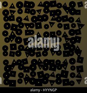 Résumé fond sombre brun brillant avec éléments dorés et des formes géométriques Banque D'Images