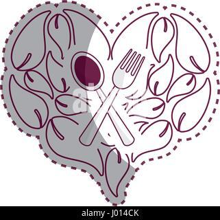 Sticker feuilles en forme de coeur avec cuillère, fourchette à l'intérieur Banque D'Images