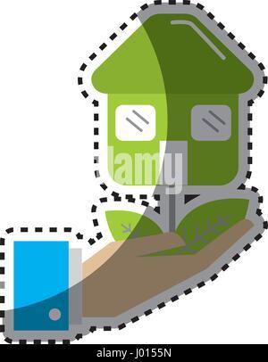 Plante verte autocollant avec des feuilles dans la main Banque D'Images