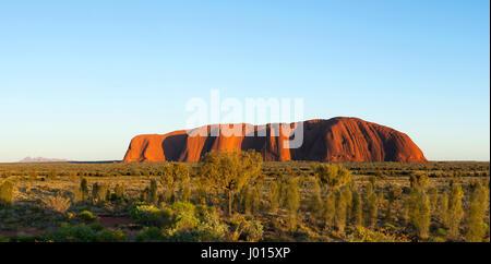 Lever du soleil sur Uluru, le Parc National d'Uluru-Kata Tjuta, Territoire du Nord, Australie Banque D'Images