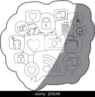 Silhouette sticker collection set icônes social dialogue Banque D'Images