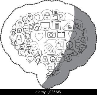 Silhouette autocollant forme de dialogue Modèle de légende empilés icônes sociales Banque D'Images