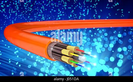 Concept de fibre optique et de l'image de rendu 3D abstract blue background Banque D'Images