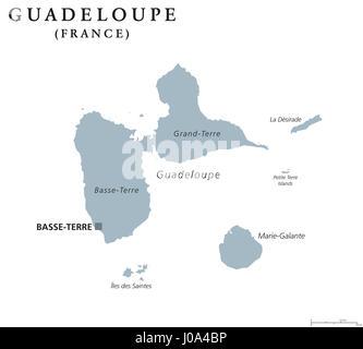 Guadeloupe carte politique de la peine de Basse-Terre. Îles des Caraïbes et de la région d'outre-mer de la France dans les Petites Antilles et les Îles sous le vent.