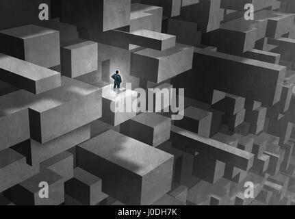 Défi de l'entreprise concept comme un homme en détresse et perdu dans un labyrinthe compliqué résumé de carrière Banque D'Images