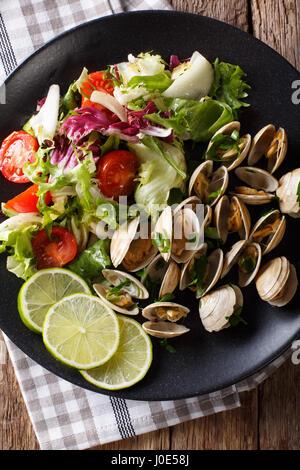 Les palourdes avec des greens et salade fraîche close-up sur une plaque sur une table. Vue verticale d'en haut Banque D'Images