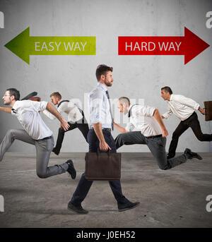 Suivez la manière dure pour le succès. Banque D'Images