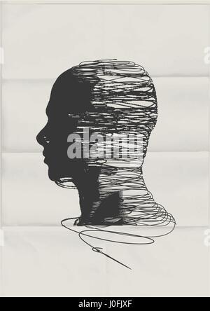 L'esprit humain. La forme de la tête d'un homme empêtré avec filetage de string - concept de santé mentale. Banque D'Images