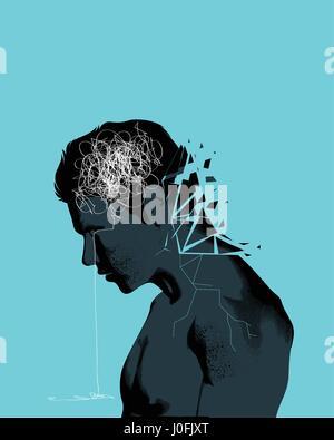 Un homme avec la tête baissée l'égrenage montrant des problèmes de santé mentale. L'anxiété, la dépression et la Banque D'Images