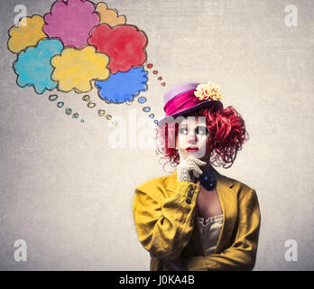 Clown woman thinking Banque D'Images
