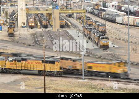 Triage de Bailey, la plus grande gare de triage ferroviaire, vu à partir de la plate-forme d'observation au Golden Banque D'Images