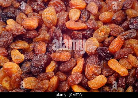 La texture de fond de raisins secs. Close-up. Banque D'Images