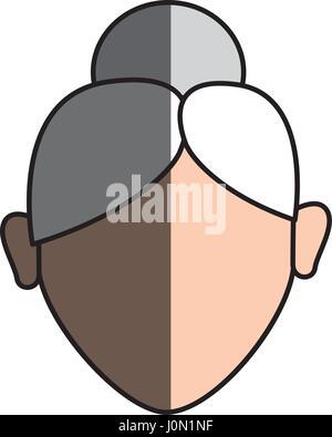 Vieux visage femme avec hairstyle Banque D'Images