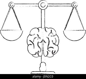 L'équilibre du cerveau droit à l'égalité de la justice Banque D'Images