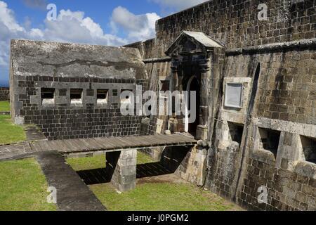 Entrée de la citadelle intérieure de la forteresse de Brimstone Hill, St Kitts et Nevis. Banque D'Images