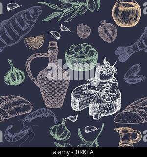 La cuisine méditerranéenne seamless pattern sur fond bleu. Banque D'Images