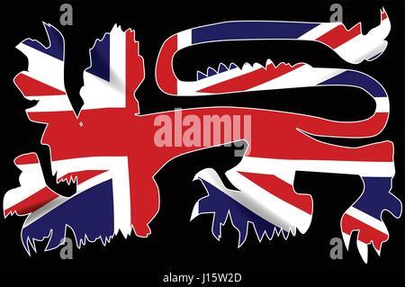 Le lion anglais traditionnel en silhouette sur l'Union Jack Drapeau Royaume-Uni Banque D'Images