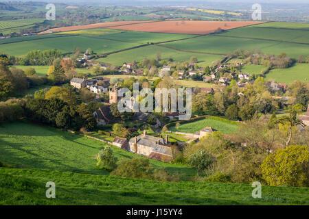 High view de Corton Denham, un village traditionnel de Somerset, England, UK Banque D'Images