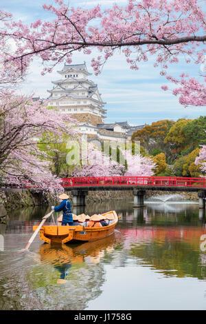 Château de Himeji avec de beaux cerisiers en fleurs au printemps saison à Agadir près d'Osaka, au Japon. Château Banque D'Images