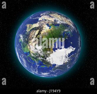 La haute résolution de la planète terre depuis l'espace en 3D. Éléments de cette image fournie par la NASA Banque D'Images