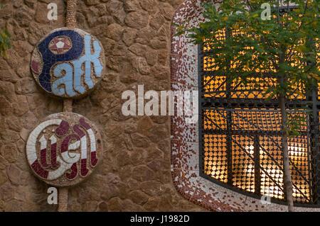 Entrée du Parc Guell à Barcelone, Espagne Banque D'Images