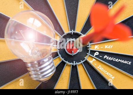 Indicateur de performance clé KPI avec idée d'ampoule et dart réussi sur bullseye, concept pour le succès des objectifs Banque D'Images