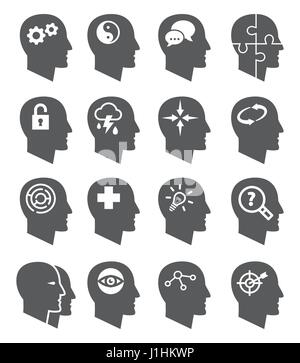 Vecteur psychologie icons set Banque D'Images