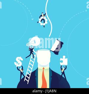 Changement de l'esprit d'entreprise concept illustration, hommes d'aider l'équipe avec de nouvelles idées créatives. Banque D'Images