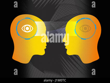 La lecture de l'esprit, seeing eye to eye, esp, transfert Banque D'Images