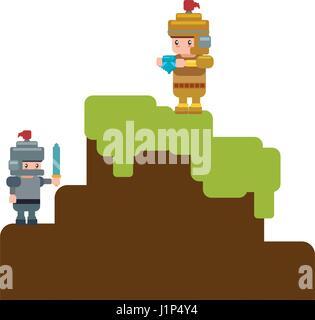 Décor pixélisé videogame Banque D'Images