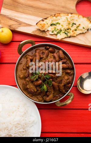 Curry de haricots ou rajma ou rajmah chawal et roti, typique du nord de l'Inde, selective focus