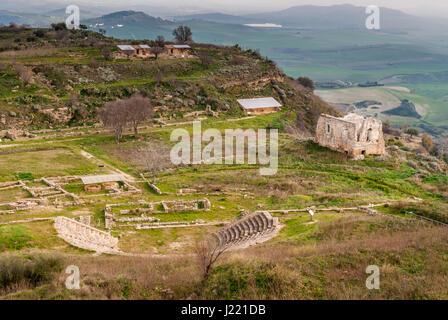 Vue panoramique de l'ancienne ville grecque de Morgantina, en Sicile Banque D'Images