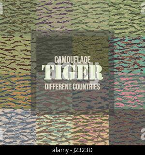 Les modèles sans couture Camouflage Tiger Stripe de différents pays. Vector Illustration.