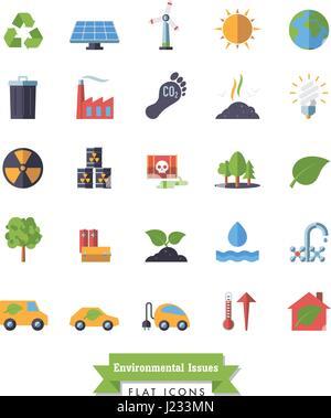 Collection de l'environnement et changements des icônes vectorielles design plat isolé Banque D'Images