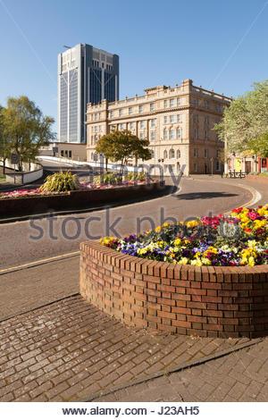Parterres Blackburn Centre-ville. Banque D'Images