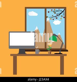 Modèle plat vector illustration of modern office interior