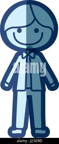 Silhouette bleu de la caricature de l'homme sourire avec papillon